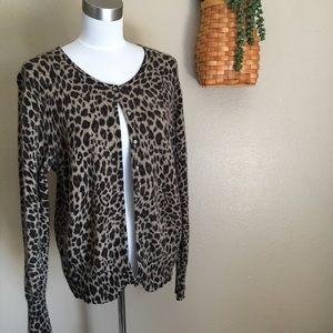 Apt. 9 Animal Print Cashmere Sweater Size XL